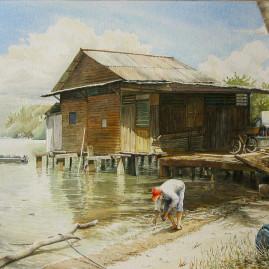 Worm Catcher on Pulau Ubin